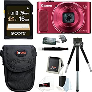 Canon PowerShot SX620 HS Digital Camera (Red) with 16GB Accessory Bundle