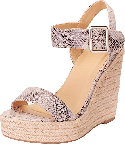 Cambridge Select Women's Open Toe Buckled Ankle Strap Espadrille Platform Wedge Sandal,8 B(M) US,Beige Python PU