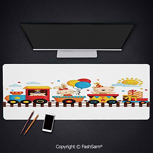 Personalized Large Mouse Pad Cartoon Animals On A Train Bunny Teddy Bear Gift Boxes Balloons Party Hat Deco Decorative Keyboard Pad for Office Desktop(W35.4xL15.7)