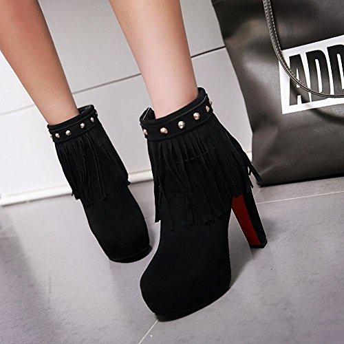 Mee Shoes Damen high heels Quaste Plateau Stiefel Schwarz