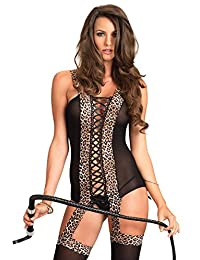 Leg Avenue Women's Reversible Suspender Bodystocking with Leopard Print