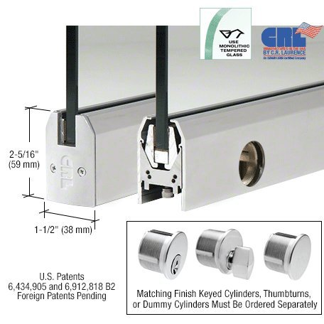 Satin Anodized Low Profile Tapered Door Rail With Lock - 35-3/4'' Length