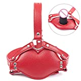 Red Lips Style Faux Leather Harness Men Women Dildo Insert Open Mouth Gag Head Bondage Hood Sex Mask Adult Games Erotic Penis Gag Sex Toys