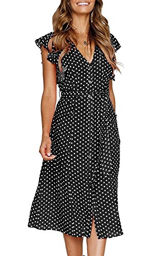 OURS Women Summer Polka Dots V Neck Sleeveless Button Down Black Midi Dresses with Pockets (Black, XL)