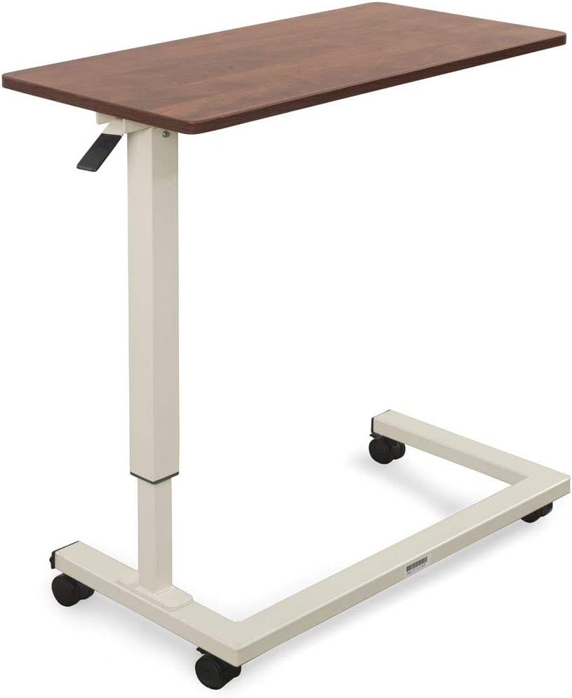Medacure Bedside Table with Wheels - Overbed Table Hospital Bed – Home, Food, Laptop, Reading - Adjustable Height, Heavy Duty Steel Frame, Locking Casters - 50lb Capacity - Cherry