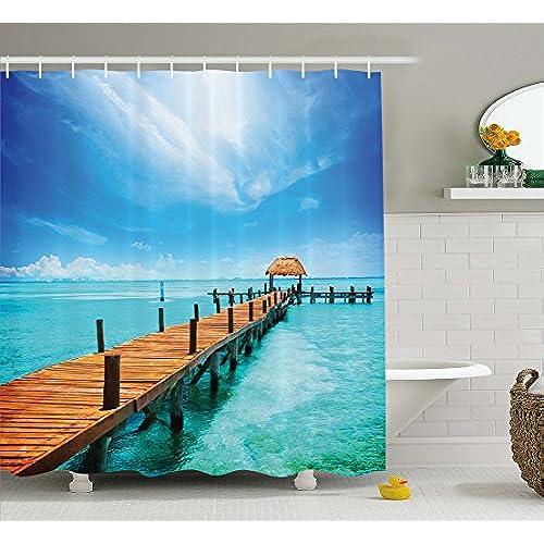 ambesonne nautical shower curtain ocean scenery decor by wooden dock maldives tropical island seashore gazebo cabana theme beach decorations for home - Beach Themed Bathroom
