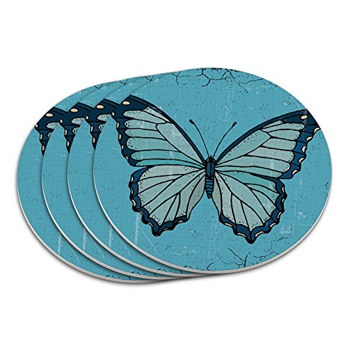 Butterfly Artsy Blue Coaster Set