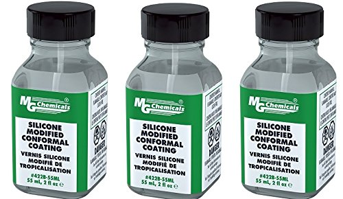 MG Chemicals Silicone Modified Conformal Coating, 55 ml Bottle with Brush Cap (3-Pack)