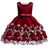Baby Girls Princess Birthday Baptism Bowknot Dress Kids Flower Lace Tulle Halloween Christmas Carnival Party Wedding Bridesmaid Communion Dance Ball Gown Pageant Short Dress Burgundy 12-18 Months