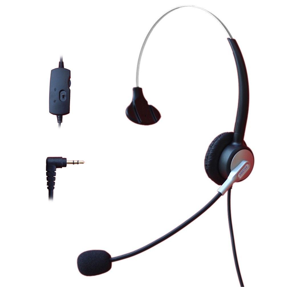 Comdio 2.5mm Call Center Headset Headphone with Mic + Volume Mute Controls for Panasonic KX-NT136 KX-NT343 KX-NT346 KX-NT366 KX-T7603 IP and Cordless Phones Telephone with 2.5mm Headset Jack (H303VP4)