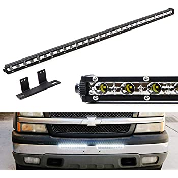 Ijdmtoy Lower Bumper Mount 32 Inch Led Ultra Slim Light Bar Kit For Chevy Silverado 1500 2500 3500 And Avalanche Includes 90w High Power Led Lightbar