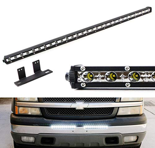 Bumper Bracket Kit - iJDMTOY Lower Bumper Mount 32-Inch LED Ultra Slim Light Bar Kit For Chevy Silverado 1500 2500 3500 and Avalanche, Includes 90W High Power LED Lightbar & Behind Bumper Opening Area Mounting Brackets