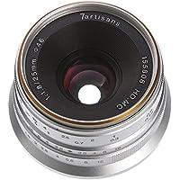 7artisans 25mm F/1.8 Large Aperture Portrait Manual Focus MF HD MC Prime Lens for Fujifilm FX Mount X-A1,X-A2,X-AT,X-M1,X-M2,X-T1,X-T2,X-T10,X-T20,X-Pro1,X-E1,X-E2 X-Pro1,X-Pro2 Dslr Cameras (Silver)