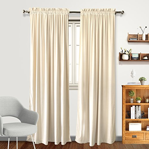 Living Room Blackout Velvet Curtains - Super Soft Dutch Velvet Rod Pocket Drapes Sound Reducing Heavy Solid Panels (2 Panels, 108 inch Length, Beige) (Panels Velvet)