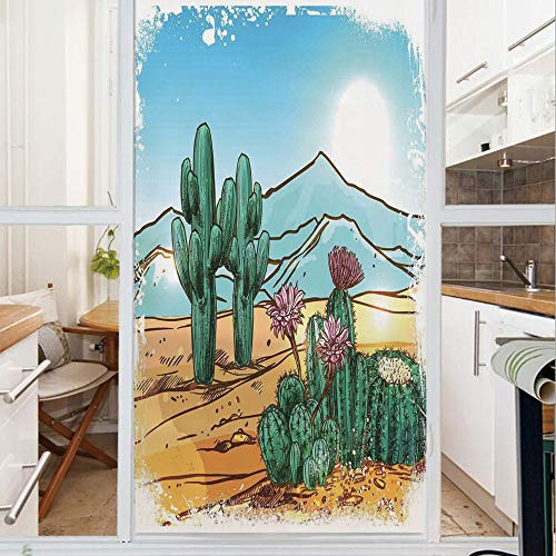 Decorative Window Film,No Glue Frosted Privacy Film,Stained Glass Door Film,Vector Image with Cartoon Design Cactus Flowers Mountains Desert Sand Sun Art,for Home & Office,23.6In. by 78.7In Multicolor