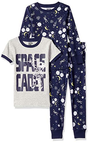 Amazon Brand - Spotted Zebra Big Kid 3-Piece Snug-Fit Cotton Pajama Set, Space Cadet, X-Large (12) ()
