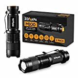 ZONAPA LED Mini Flashlights (2-Pack) Tactical, Compact, Portable | Ultra-Bright Lighting | Indoor and Outdoor Use | Emergency, Camping, Travel, Hiking | Battery Powered ... (2 Pack)