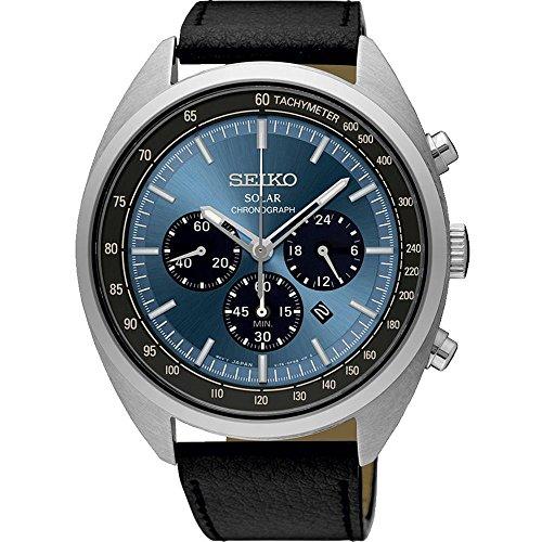 Chronograph Seiko Watch Tachymeter - Seiko Men's 45mm Black Leather Band Steel Case Hardlex Crystal Solar Blue Dial Analog Watch SSC625P1