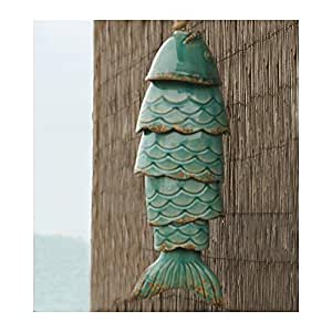 Colored Porcelain Koi Fish Wind Chime, in Blue