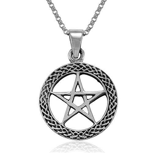 (MIMI Sterling Silver Celtic Wiccan Pentacle Pentagram Round Pendant Necklace, 18 inches)
