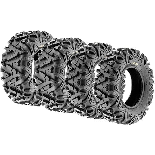 Set of 4 SunF Power.I AT 24×8-11 Front & 24×10-11 Rear ATV UTV all-terrain Tires, 6 PR, Tubeless A033