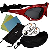 SeaSpecs Classic Sunfire Specs Red Extreme Water Sports Floating Sunglasses w Semi Rigid Case Bundle (5 Items)+ Flex Clip Case + Soft Carry Pouch + Lens Cloth +WindBone Kiteboarding Lifestyle Stickers