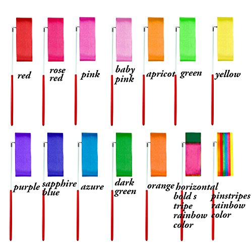 Aneco 14 Pieces Dance Ribbons Streamers Rhythmic Gymnastics Ribbon Wands for Kids Artistic Dancing, Baton Twirling, 14 colors by Aneco (Image #2)