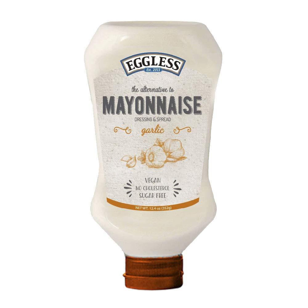 Eggless Mayonnaise - Egg Free Mayo with No Cholesterol - 12.4 oz - Sugar-Free, Vegan Mayo - Bio Mayonnaise with No Eggs - Garlic - Pack of 3