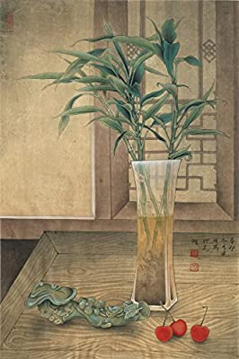 Still Life of Jade Ruyi and a bottle of plant Oil Reprodution. Based On Traditional Chinese Realistic Painting. (Unframed and Unstretched).