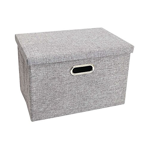Cutieunion Storage Box with Lids and Handles Natural Fabric Collapsible Storage Baskets for Closet Shelves Drawers (Gray,13X9.3X7.1 inch) (Lid Pet Plate)