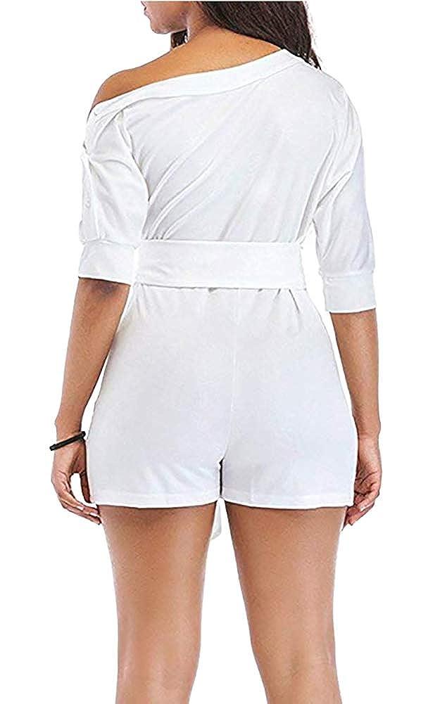 Grace Elbe Womens Wide Leg Slanted One Shoulder Belted Jumpsuits