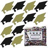 Confetti Grad Cap Black, Gold Combo - One Pound Bag (16 oz) Free Priority Mail --- (8400/8404)