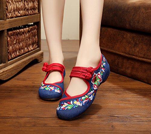 ZLL Gestickte Schuhe, Sehnensohle, ethnischer Stil, weibliche Tuchschuhe, Mode, bequem, Tanzschuhe denim blue
