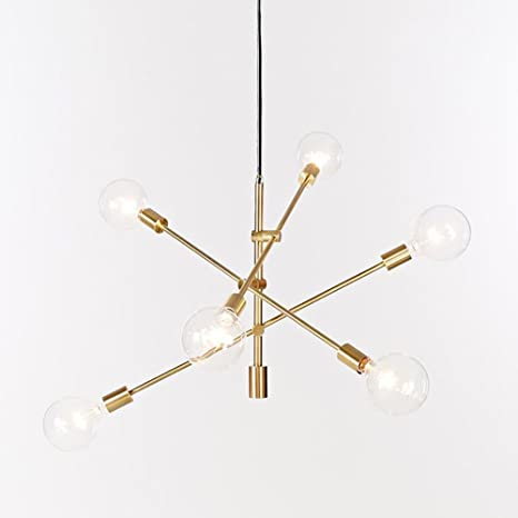 Superbe YOKA Pendant Light Polished Gold Contemporary Stem Hung Chandelier Fixture  Modern Lamp 6 Lights Hanging Flush