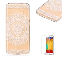 For Samsung Galaxy S8 Case [with Free Screen Protector].Funyye Gradual Change Color Transparent Silicone Soft Thin Light Lightweight Rubber TPU Gel Original Anti-Slip Stylish Protective Case Cover Slim Thin Skin Shell for Samsung Galaxy S8-Mandala Flower Black-Mandala Flower White