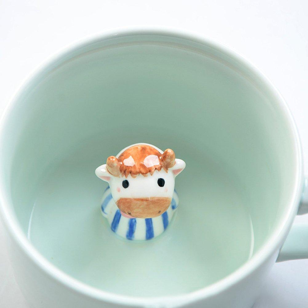 3d小さなセラミックキュート動物ミルクコーヒーカップマグ耐熱Perfectクリスマスや誕生日ギフトとして 11.6*8.7*6.5cm Colorado B0789H39ZW  Calf