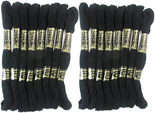 Paquete de 16 negro trenzado algodón de punto de cruz bordado ...
