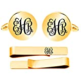 Kooer Custom Personalized Monogram Engraved Cuff Links Handmade Engrave Wedding Initials Cufflinks Jewelry (Gold plated round cufflinks tie clip set)