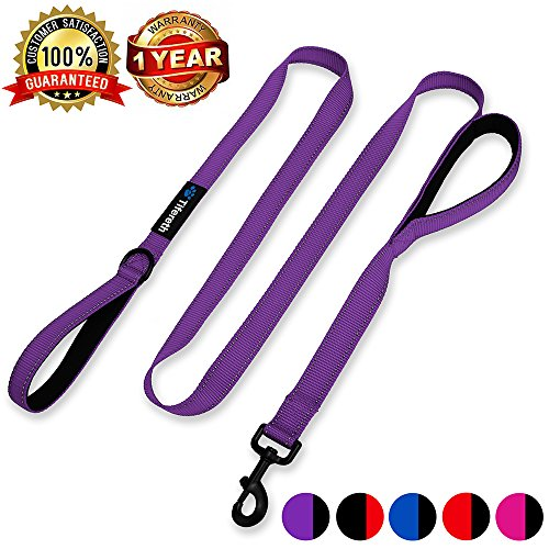 Tifereth Heavy Duty Dog Leash Reflective Nylon Dog Leash 2 Handles Padded Traffic Handle for Extra Control 6 ft Long Perfect for Medium to Large Dogs (Purple)
