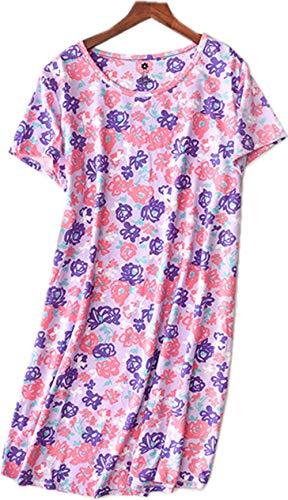 Women's Nightgown Cotton Sleep Tee Nightshirt Casual Print Sleepwear Lucky06-PurpleRose-XXL