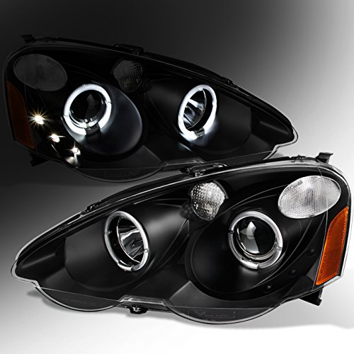 2002 2003 2004 Acura RSX Interga DC5 Left + Right Black Halo Projector Headlights Lamps Assembly ()