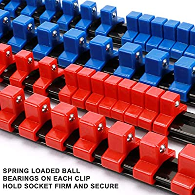 "Makitoyo ABS Socket Organizer Drive Socket Holder, 1/4"" Drive x 32 Clips, 3/8"" Drive x 30 Clips, 1/2"" Drive x 24 Clips,Portable Socket Clip Rail Holder, 6 Pieces Set: Home Improvement"
