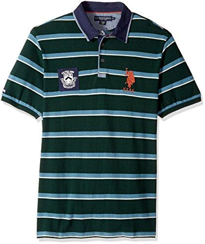 (U.S. Polo Assn. Men's Classic Fit Striped Short Sleeve Pique Shirt, 8477-Park Green, XL)