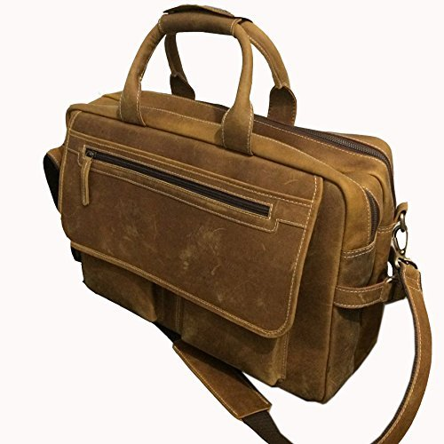 Devil Hunter 18 inch Vintage Buffalo Leather Messenger Satchel Laptop Briefcase Men's Bag Crazy Vintage Leather Messenger Briefcase Bag by Devil Hunter