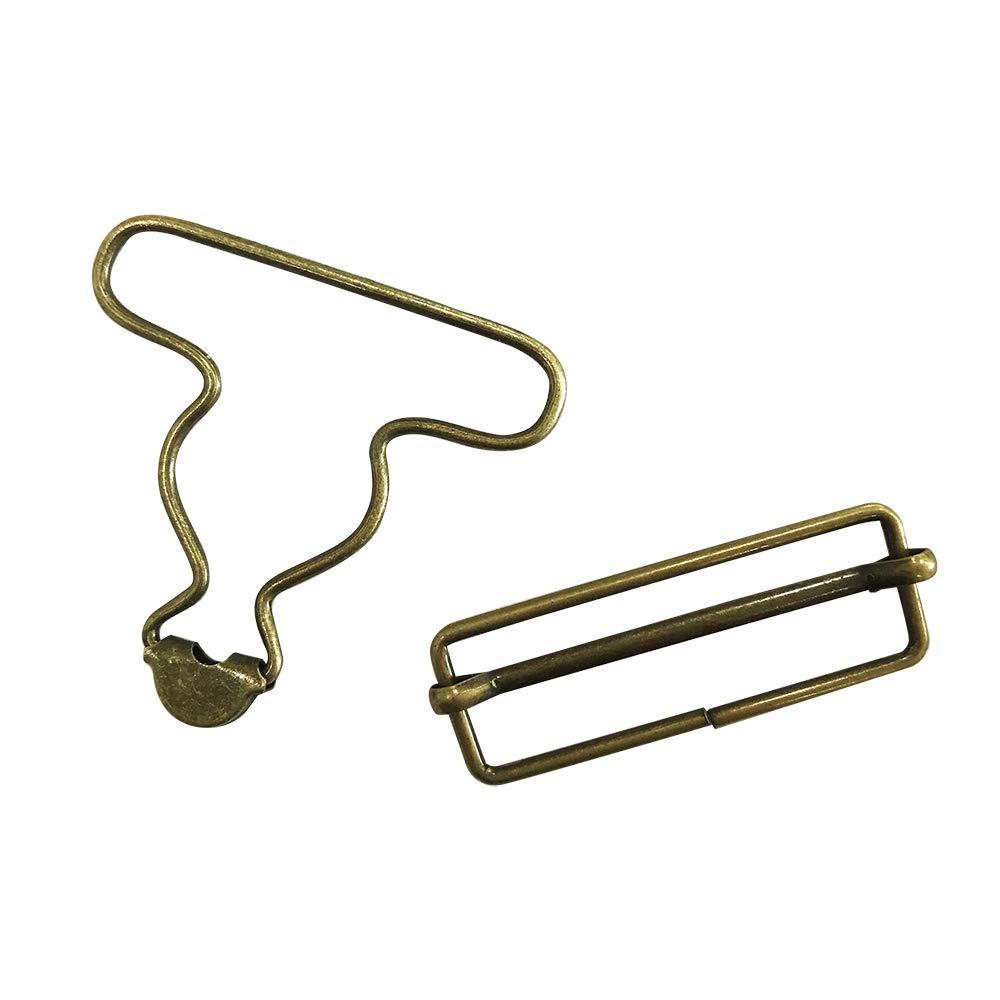 Bronze 2 inch Inside Bottom Size Bronze Suspender Buckle with Rectangle Buckle Sliding Bar Pack of 10 Sets Q2055