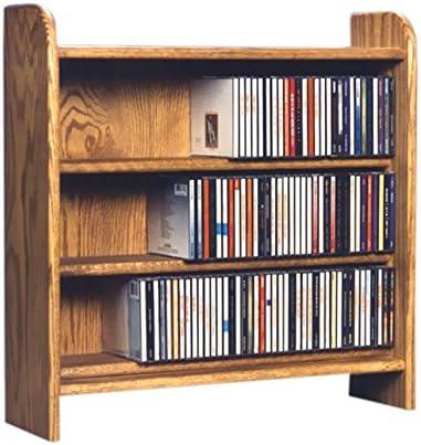Cdracks Media Furniture Solid Oak 3 Shelf CD Cabinet Maximum Capacity 220 CD s Honey Finish