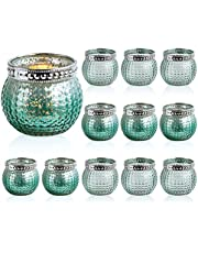"""Set of 12 Small Glass Votives, Tealight Candle Holders 2.3""""/5.9cm High, Mixed Green Color, Wedding Votives ,Vintage Boho Glass Candle Holders for Table Centerpiece Home Decor (Mint Green-12 Pack)"""