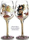 Bottom's Up 15-Ounce Choc-a-holics Handpainted Wine Glass