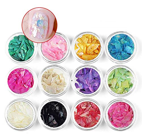 12 Boxes Mix Color Natural Sea Shell 3D Charm Nail Art Decoration Slice Shell Paillette Glitter Nail Art Design Tools DIY Accessory