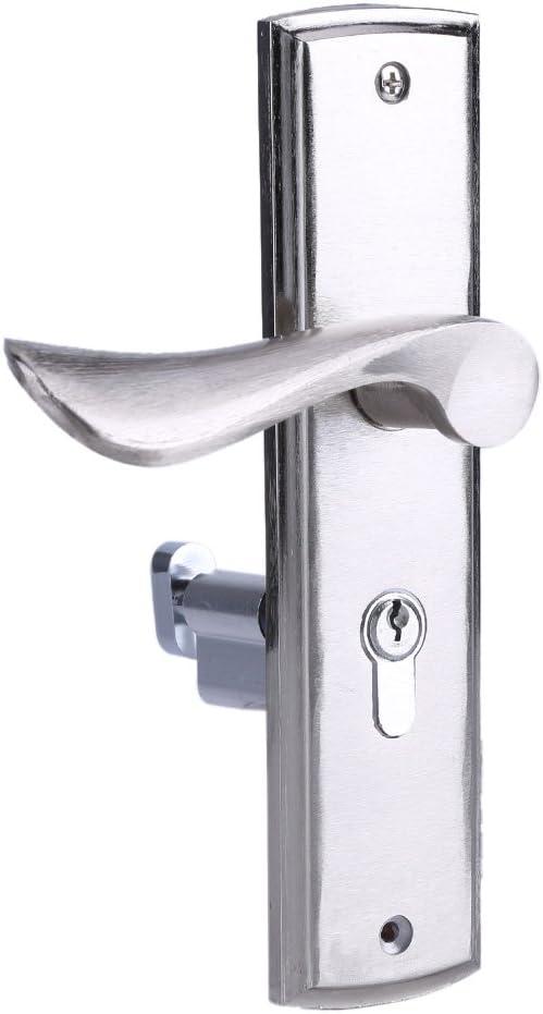 GOTOTOP Tiradores de Puerta de Aluminio, Juegos de Tiradores de Puerta internos con Llaves, Tiradores de Puerta Interior, Plateado, 1 par